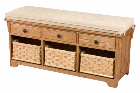 Lattice Weave Bench with Drawers